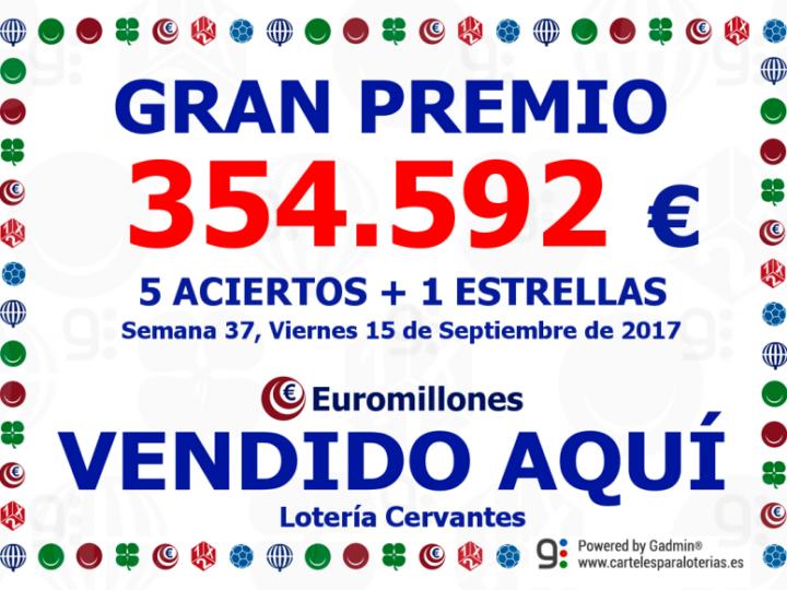 Gran Premio de Euromillones repartido por Lotería Cervantes